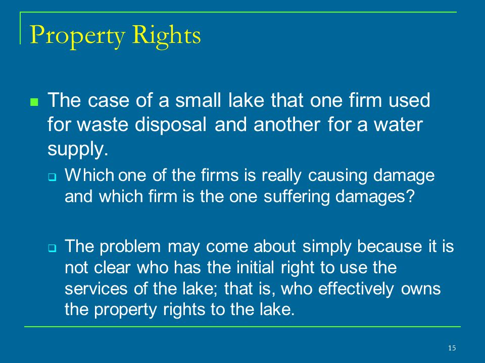 Property Rights The case of a small lake that one firm used for waste disposal and another for a water supply.