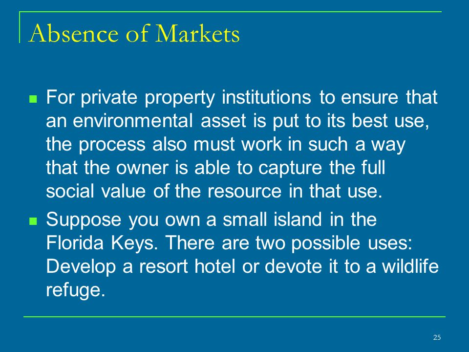 Absence of Markets For private property institutions to ensure that an environmental asset is put to its best use, the process also must work in such a way that the owner is able to capture the full social value of the resource in that use.