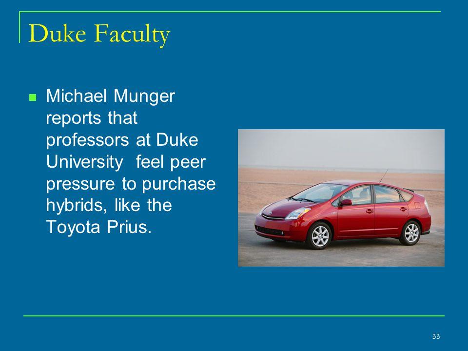 Duke Faculty Michael Munger reports that professors at Duke University feel peer pressure to purchase hybrids, like the Toyota Prius.