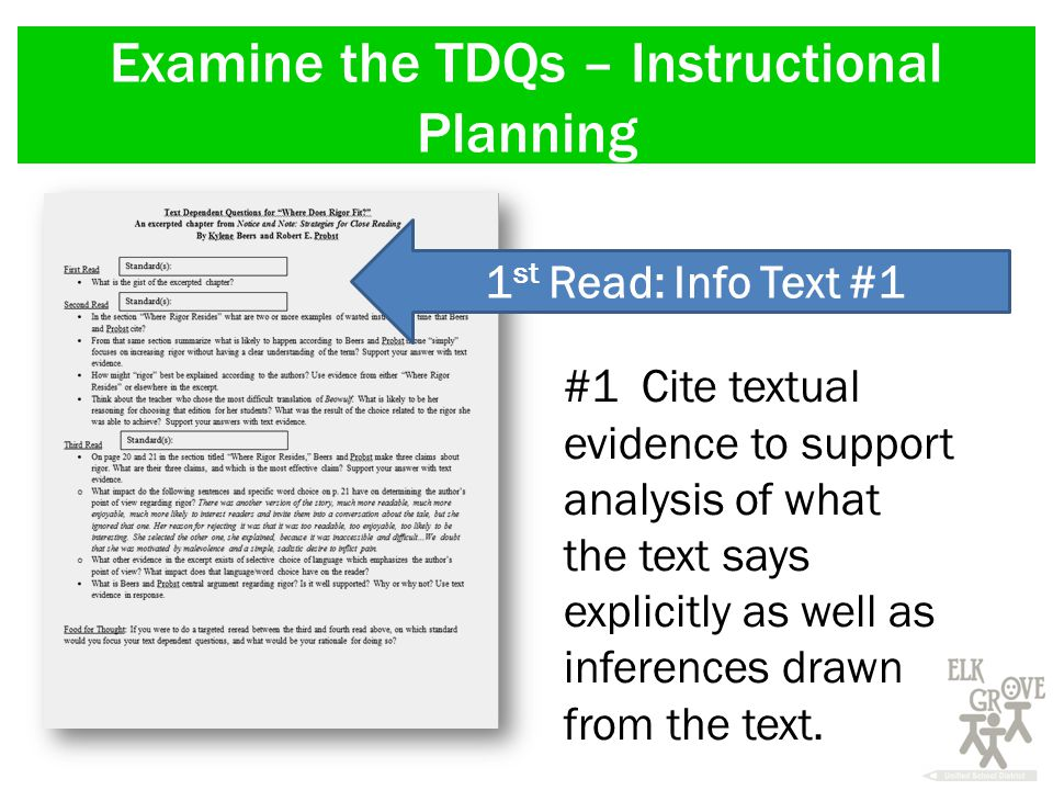 Examine the TDQs – Instructional Planning 1 st Read: Info Text #1 #1 Cite textual evidence to support analysis of what the text says explicitly as well as inferences drawn from the text.