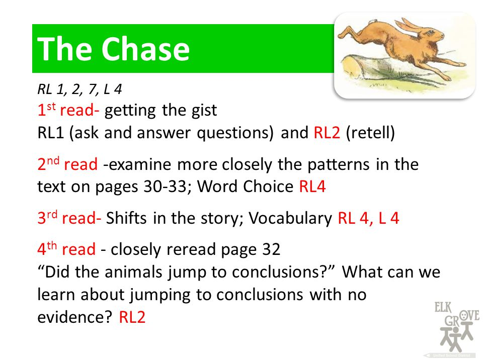 RL 1, 2, 7, L 4 1 st read- getting the gist RL1 (ask and answer questions) and RL2 (retell) 2 nd read -examine more closely the patterns in the text on pages 30-33; Word Choice RL4 3 rd read- Shifts in the story; Vocabulary RL 4, L 4 4 th read - closely reread page 32 Did the animals jump to conclusions What can we learn about jumping to conclusions with no evidence.