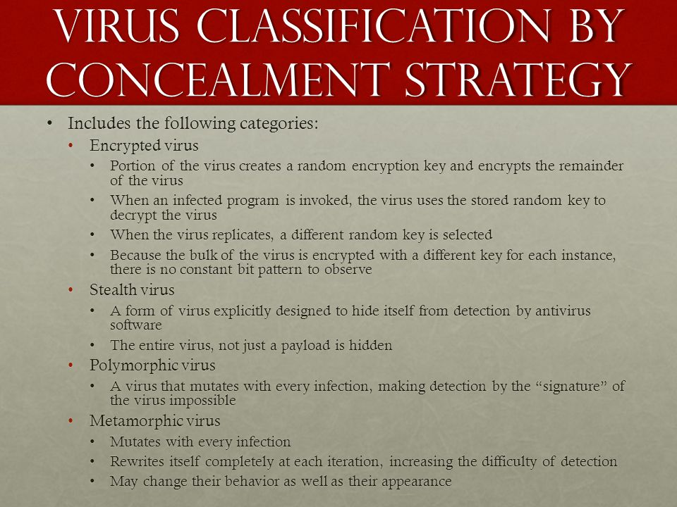 Virus classification by concealment strategy Includes the following categories:Includes the following categories: Encrypted virusEncrypted virus Porti