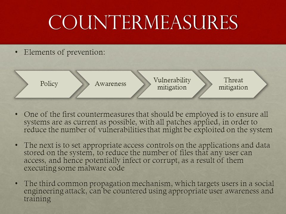 countermeasures Elements of prevention:Elements of prevention: One of the first countermeasures that should be employed is to ensure all systems are a