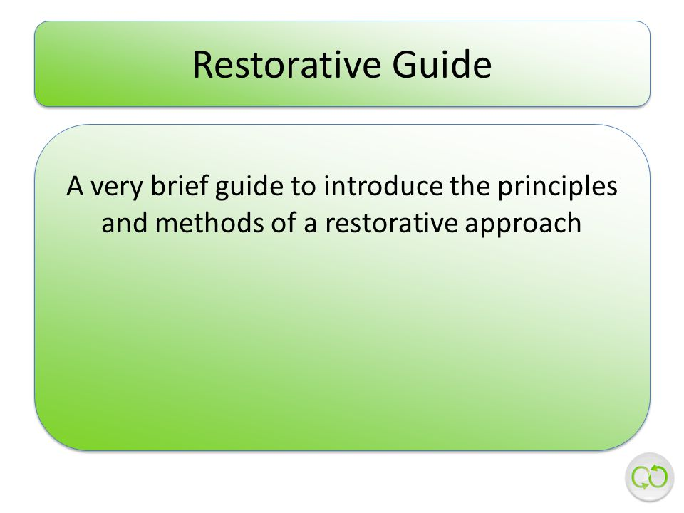 Restorative Guide A very brief guide to introduce the principles and methods of a restorative approach