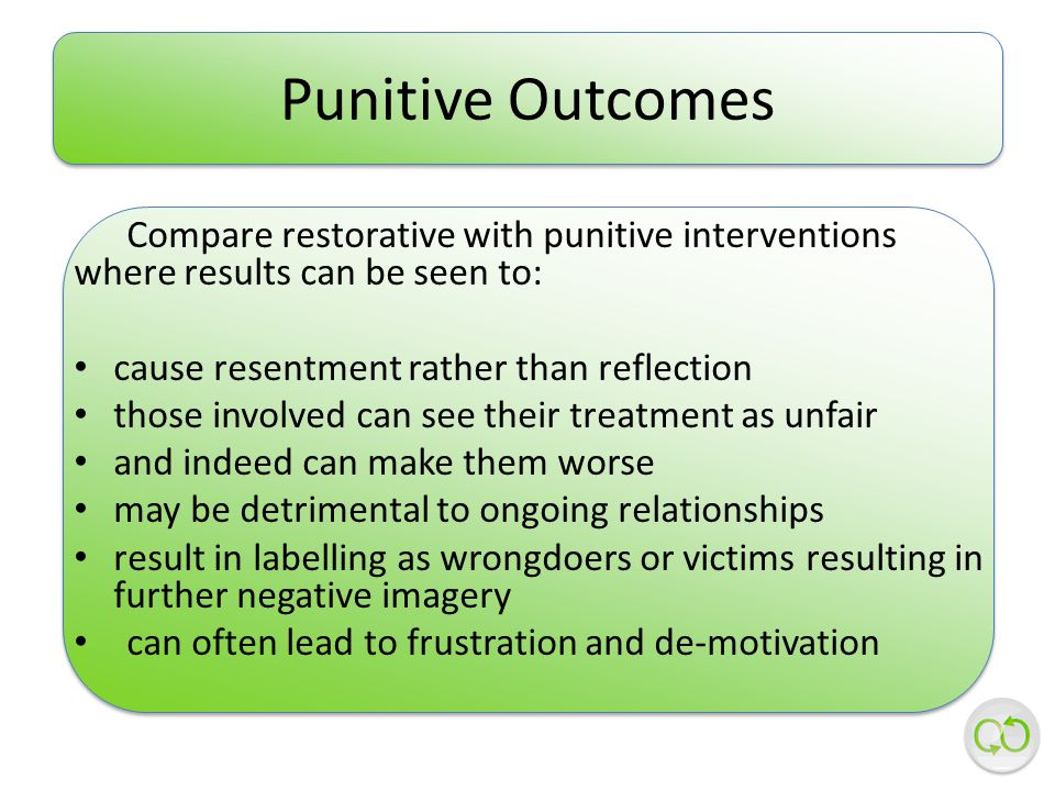 Compare restorative with punitive interventions where results can be seen to: cause resentment rather than reflection those involved can see their treatment as unfair and indeed can make them worse may be detrimental to ongoing relationships result in labelling as wrongdoers or victims resulting in further negative imagery can often lead to frustration and de-motivation Punitive Outcomes