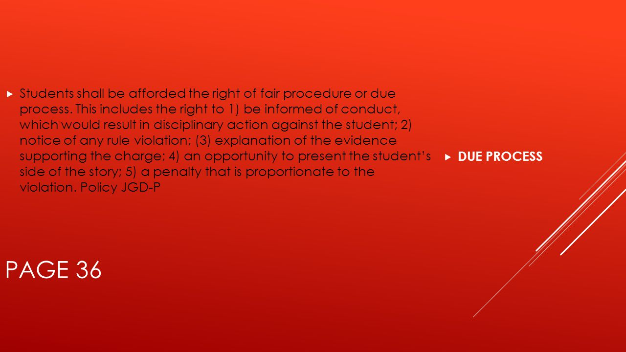  DUE PROCESS PAGE 36  Students shall be afforded the right of fair procedure or due process.