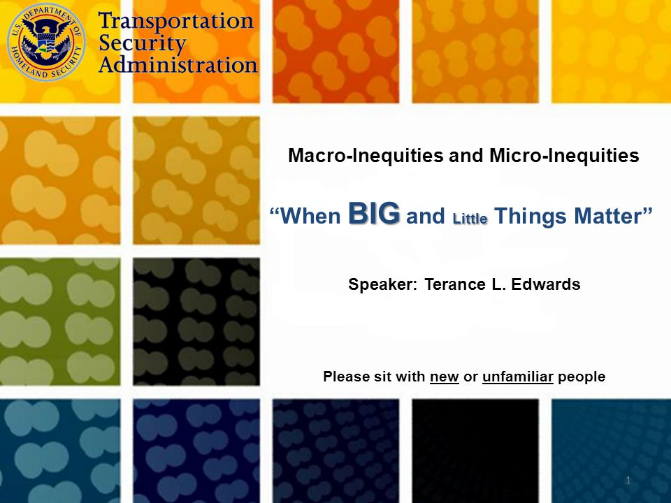 """Speaker: Terance L. Edwards 1 Macro-Inequities and Micro-Inequities Please sit with new or unfamiliar people BIG Little """"When BIG and Little Things Ma"""