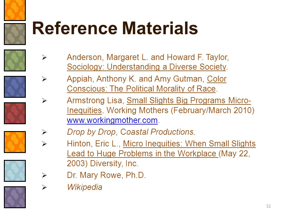Reference Materials  Anderson, Margaret L. and Howard F. Taylor, Sociology: Understanding a Diverse Society.  Appiah, Anthony K. and Amy Gutman, Col