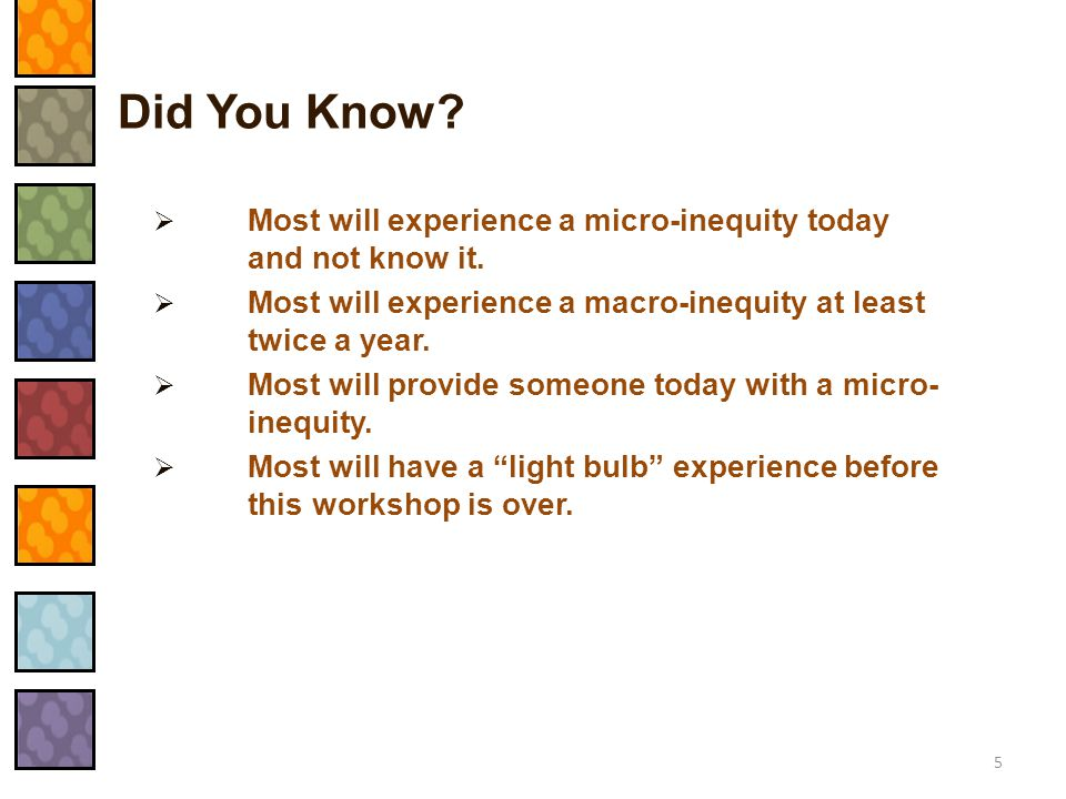 Examples of Macro-Inequities  Racial, religious, weight, sexual orientation, gender, age, or disability slurs.