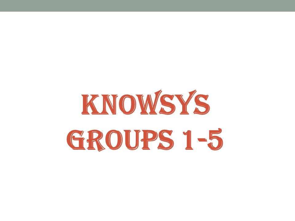 Knowsys Groups 1-5