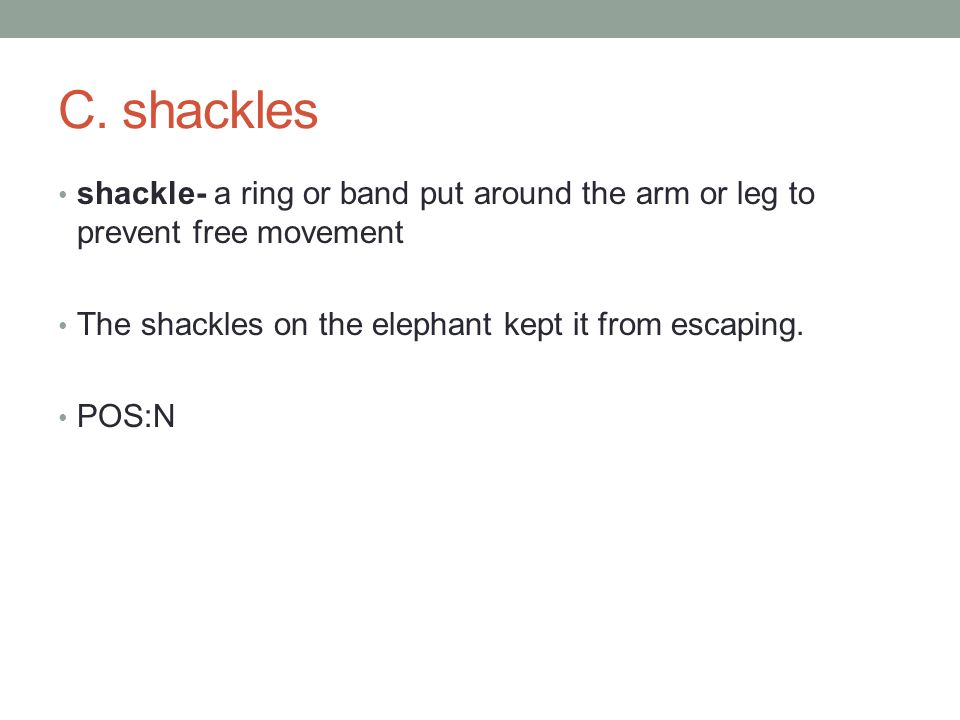 shackle- a ring or band put around the arm or leg to prevent free movement The shackles on the elephant kept it from escaping.