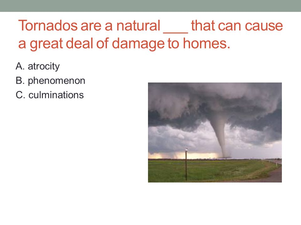 Tornados are a natural ___ that can cause a great deal of damage to homes.