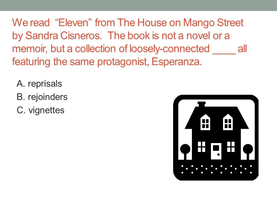 We read Eleven from The House on Mango Street by Sandra Cisneros.