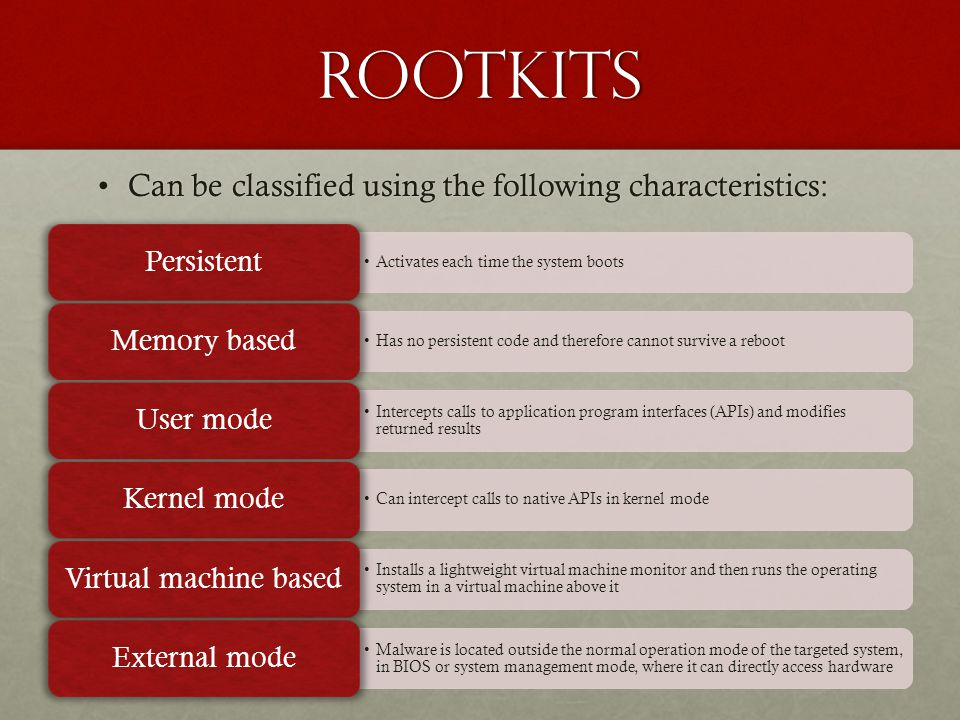 rootkits Can be classified using the following characteristics:Can be classified using the following characteristics: Activates each time the system b