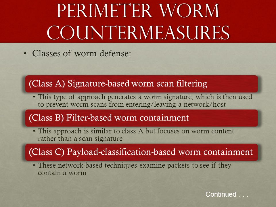 Perimeter worm countermeasures Classes of worm defense:Classes of worm defense: Continued... (Class A) Signature-based worm scan filtering This type o