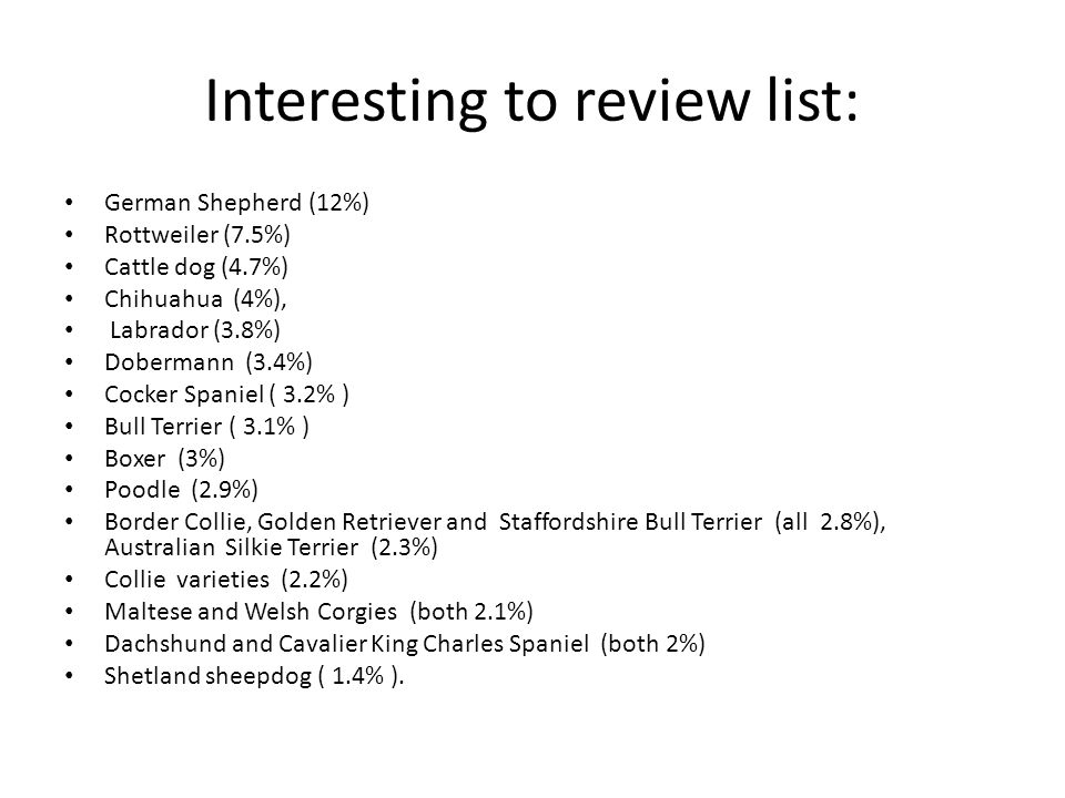 Interesting to review list: German Shepherd (12%) Rottweiler (7.5%) Cattle dog (4.7%) Chihuahua (4%), Labrador (3.8%) Dobermann (3.4%) Cocker Spaniel