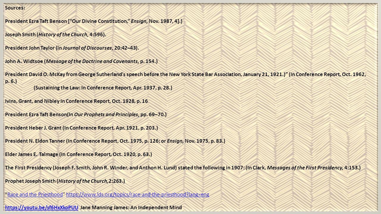 Sources: President Ezra Taft Benson [ Our Divine Constitution, Ensign, Nov.