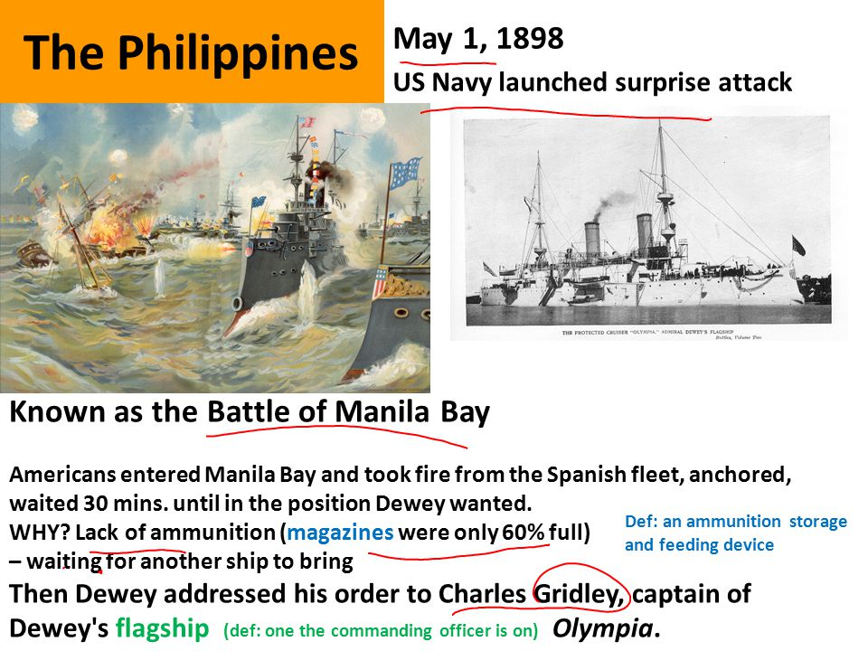 The Philippines May 1, 1898 US Navy launched surprise attack Known as the Battle of Manila Bay Americans entered Manila Bay and took fire from the Spanish fleet, anchored, waited 30 mins.