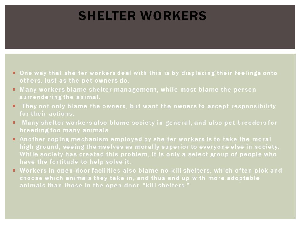  One way that shelter workers deal with this is by displacing their feelings onto others, just as the pet owners do.  Many workers blame shelter man