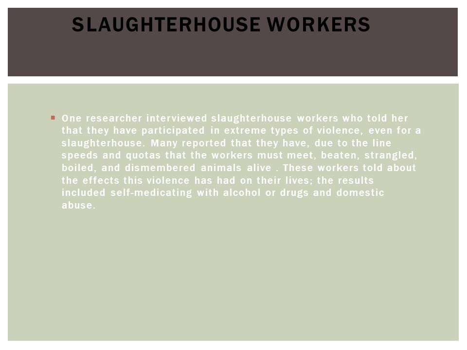  One researcher interviewed slaughterhouse workers who told her that they have participated in extreme types of violence, even for a slaughterhouse.