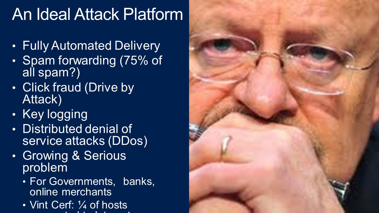 An Ideal Attack Platform Fully Automated Delivery Spam forwarding (75% of all spam ) Click fraud (Drive by Attack) Key logging Distributed denial of service attacks (DDos) Growing & Serious problem For Governments, banks, online merchants Vint Cerf: ¼ of hosts connected to Internet