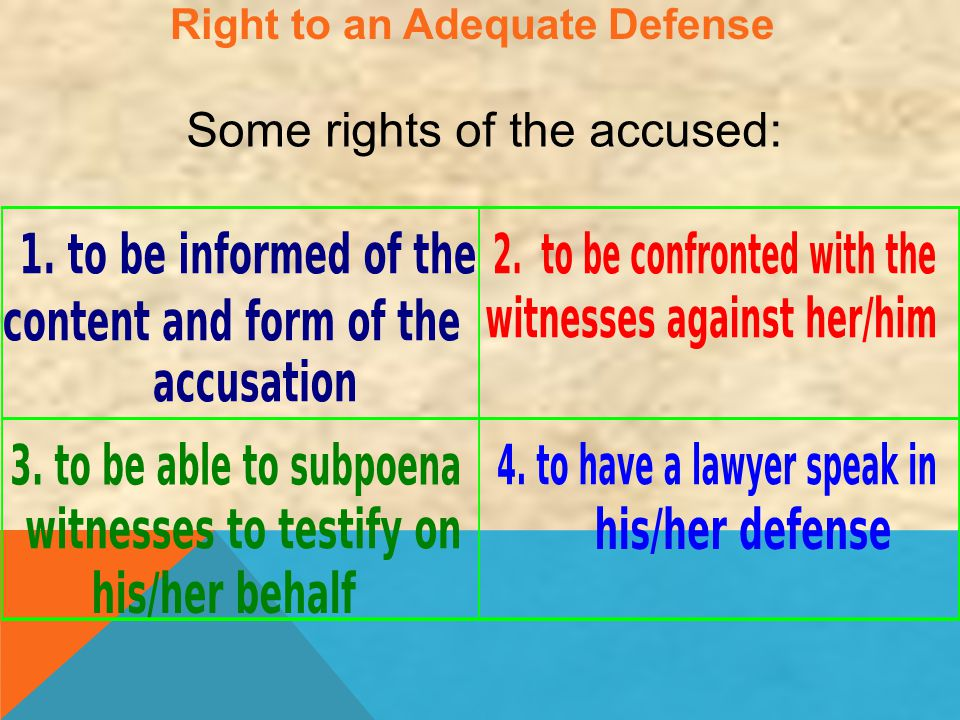 Right to an Adequate Defense Some rights of the accused: