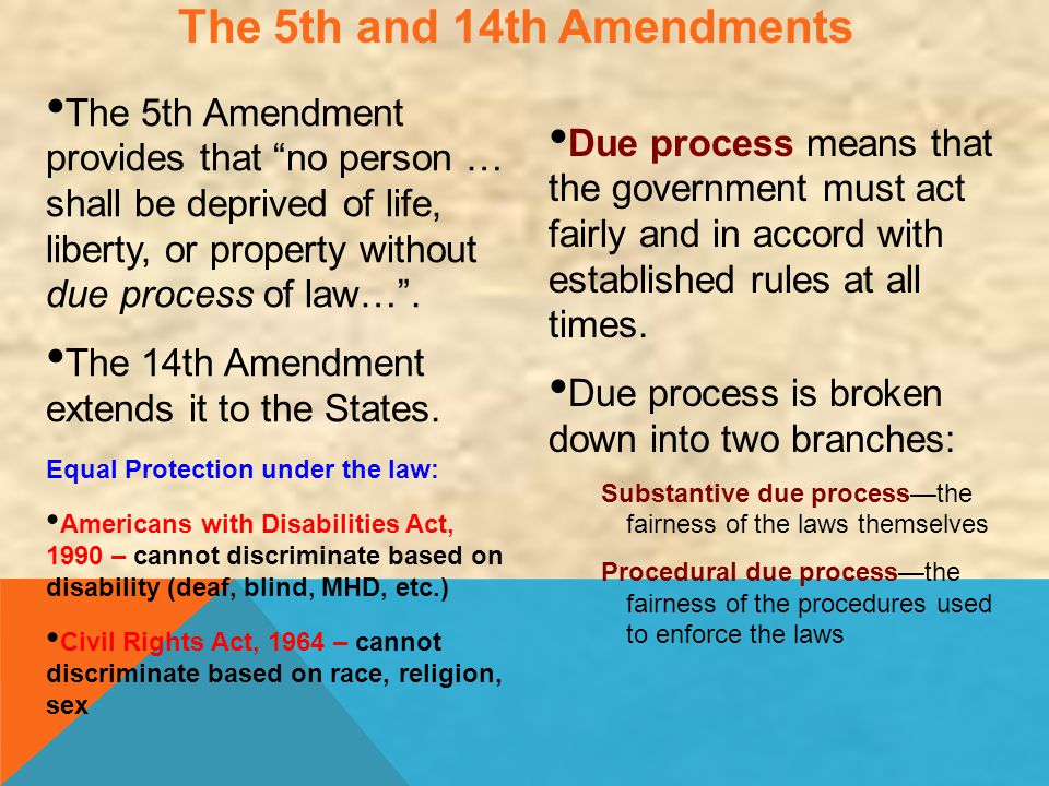 "The 5th and 14th Amendments The 5th Amendment provides that ""no person … shall be deprived of life, liberty, or property without due process of law…""."