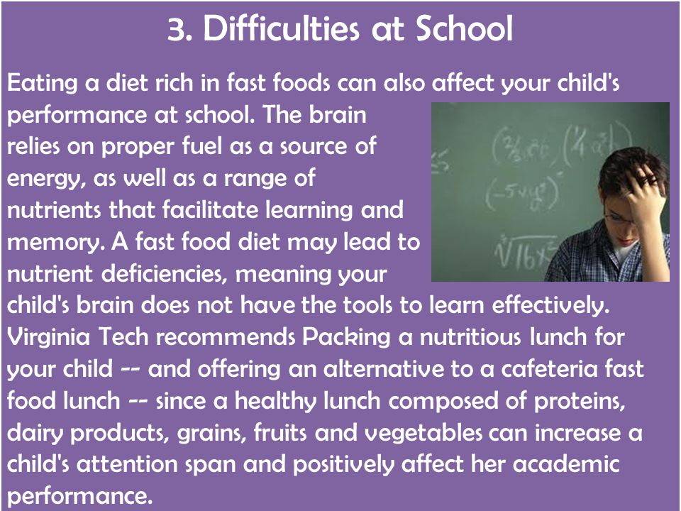 3. Difficulties at School Eating a diet rich in fast foods can also affect your child's performance at school. The brain relies on proper fuel as a so