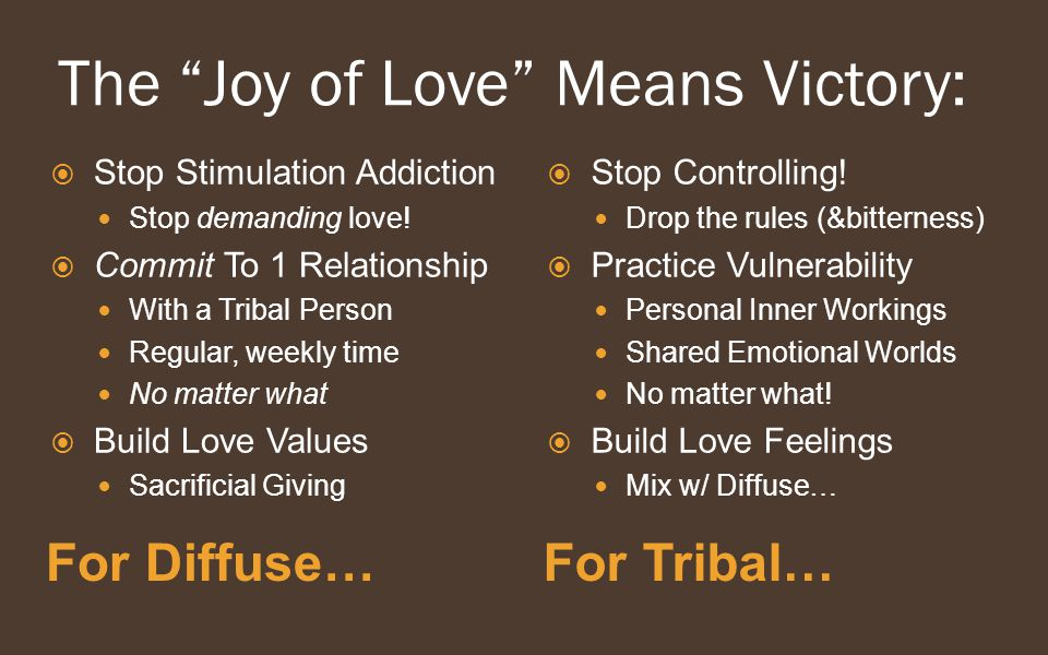 The Joy of Love Means Victory: For Diffuse…For Tribal…  Stop Stimulation Addiction Stop demanding love.