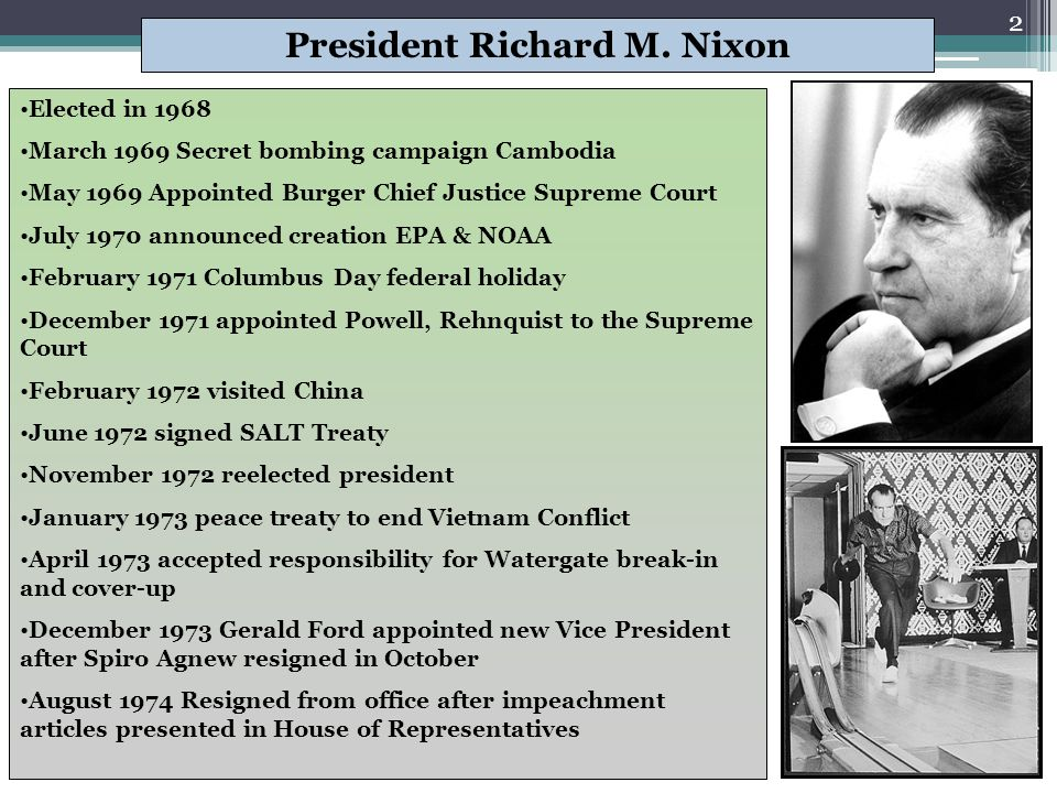 Presidents from Nixon- G.W. Bush Ch. 31-34
