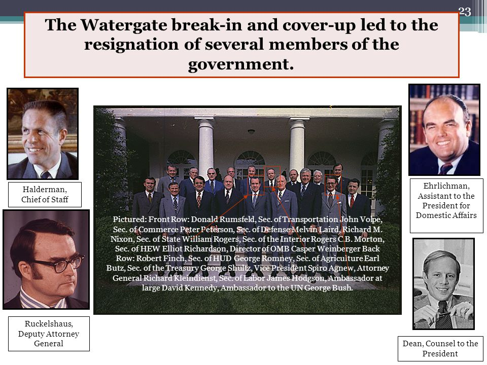 22 U.S. v Nixon, July 1974 During the investigation it was revealed that there were audio tapes from the White House. Nixon claimed executive privileg