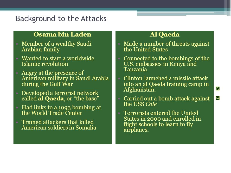 Background to the September 11 Attacks Osama bin Laden and his terrorist network, known as al Qaeda, planned and carried out the attacks.