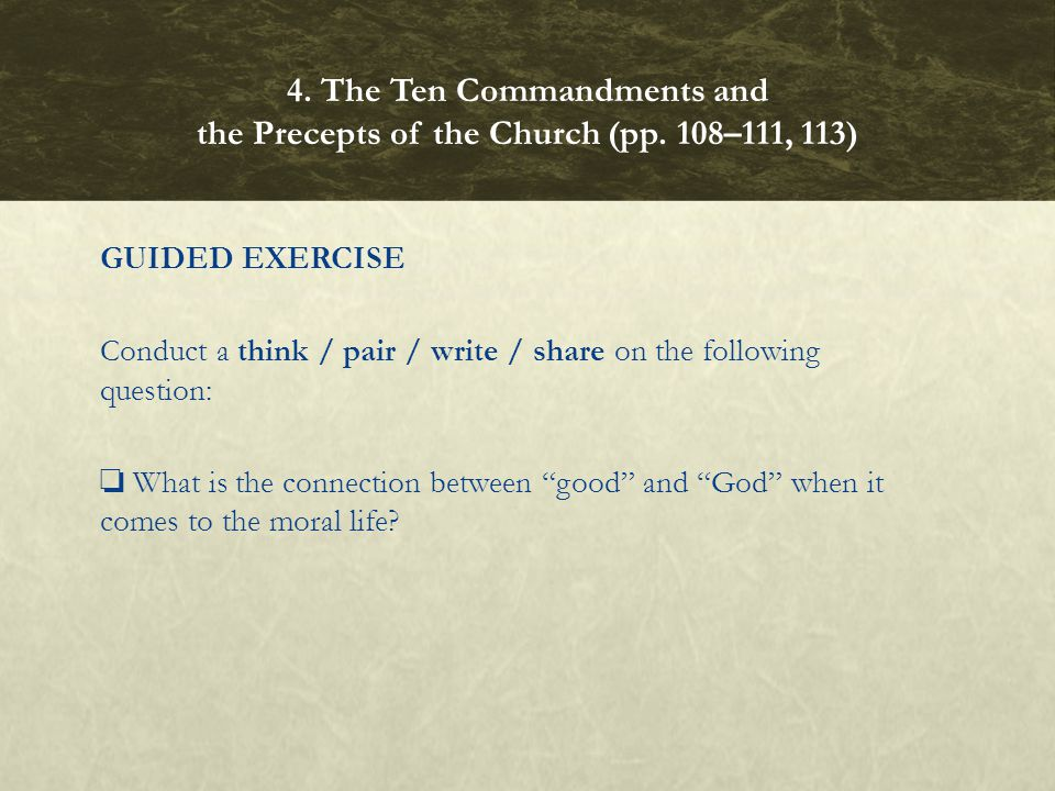 "GUIDED EXERCISE Conduct a think / pair / write / share on the following question: ❏ What is the connection between ""good"" and ""God"" when it comes to t"