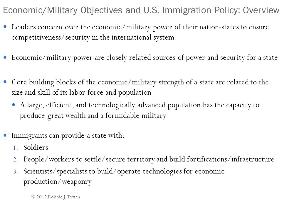 Economic/Military Objectives and U.S.