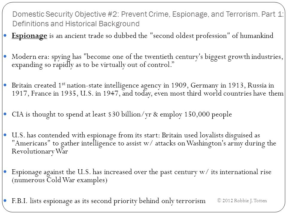 Domestic Security Objective #2: Prevent Crime, Espionage, and Terrorism.