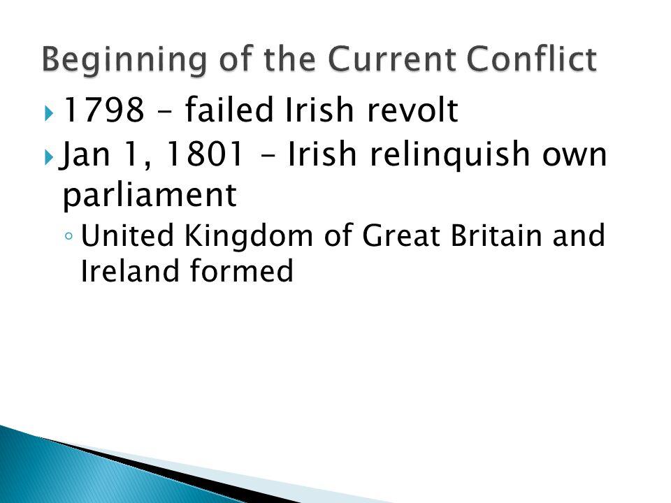  1798 – failed Irish revolt  Jan 1, 1801 – Irish relinquish own parliament ◦ United Kingdom of Great Britain and Ireland formed