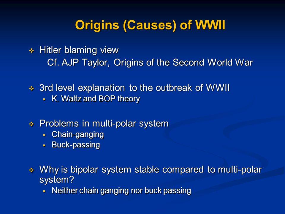 Origins (Causes) of WWII  Hitler blaming view Cf.