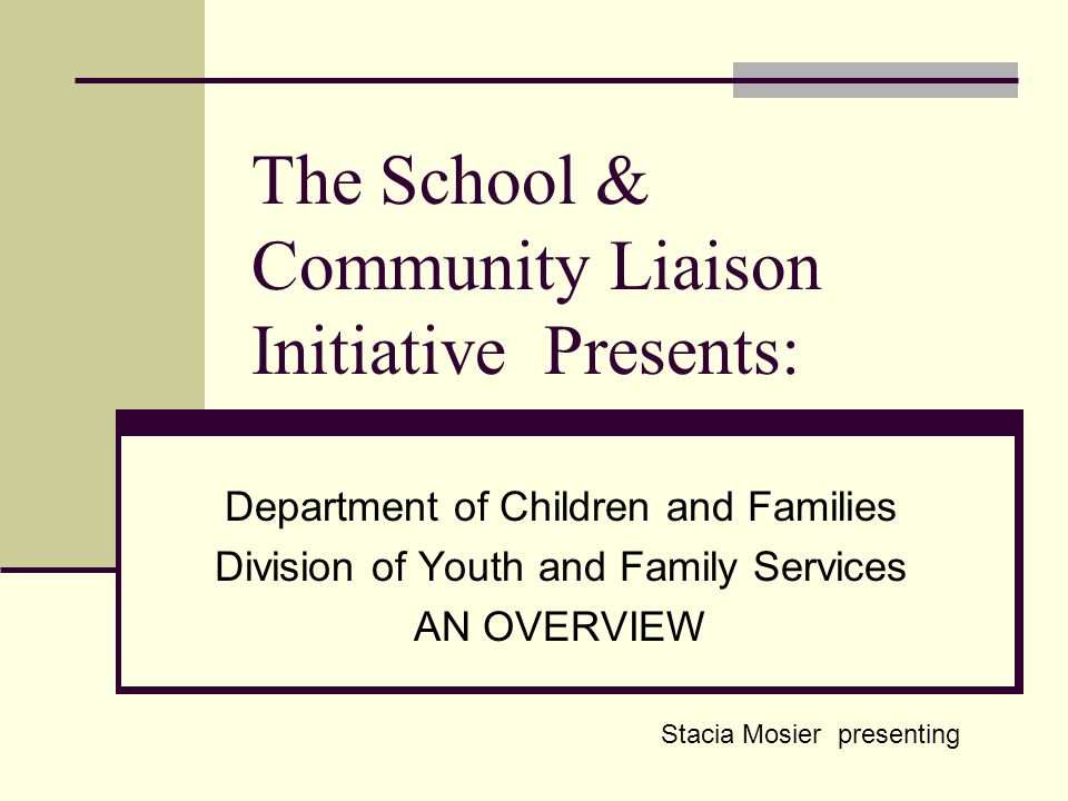 The School & Community Liaison Initiative Presents: Department of Children and Families Division of Youth and Family Services AN OVERVIEW Stacia Mosier presenting