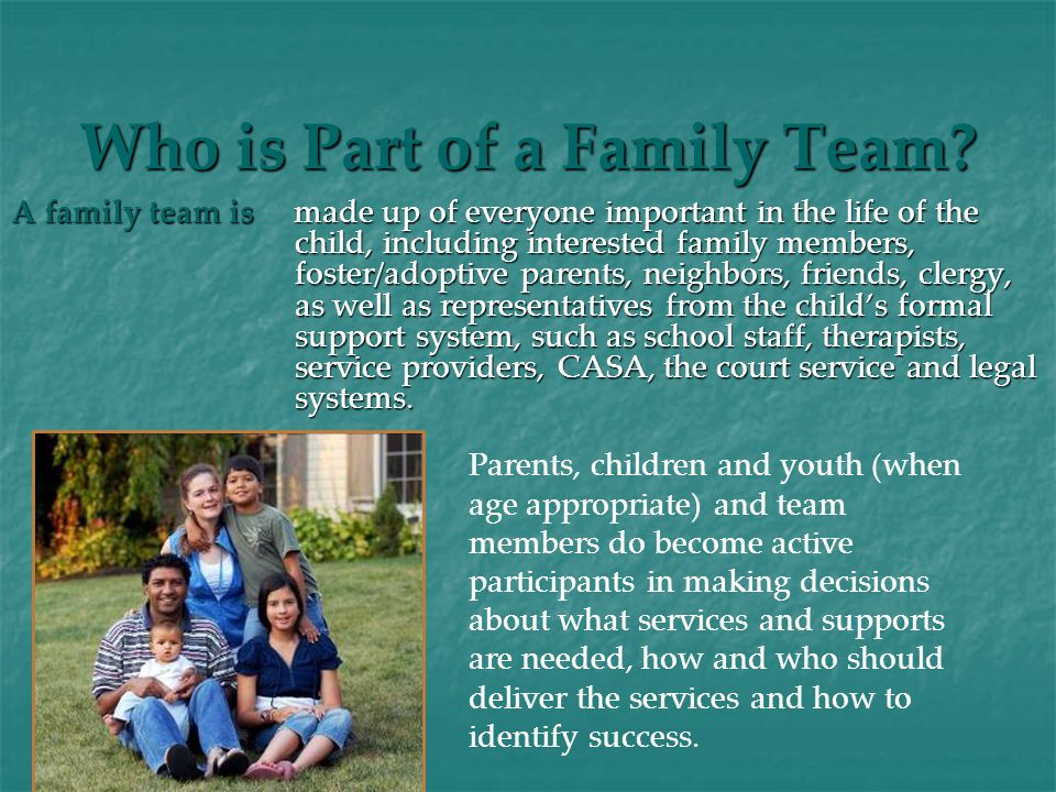 Who is Part of a Family Team.