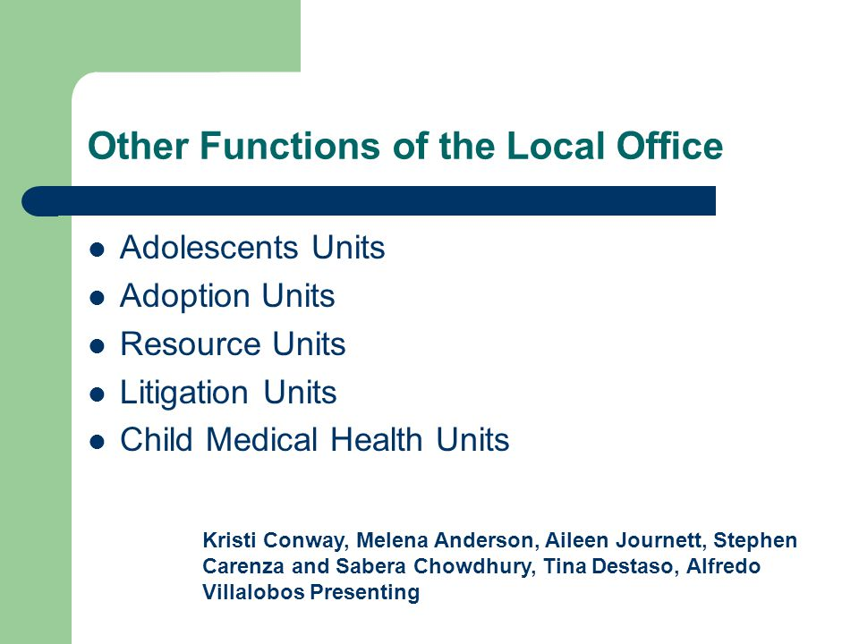 Other Functions of the Local Office Adolescents Units Adoption Units Resource Units Litigation Units Child Medical Health Units Kristi Conway, Melena Anderson, Aileen Journett, Stephen Carenza and Sabera Chowdhury, Tina Destaso, Alfredo Villalobos Presenting
