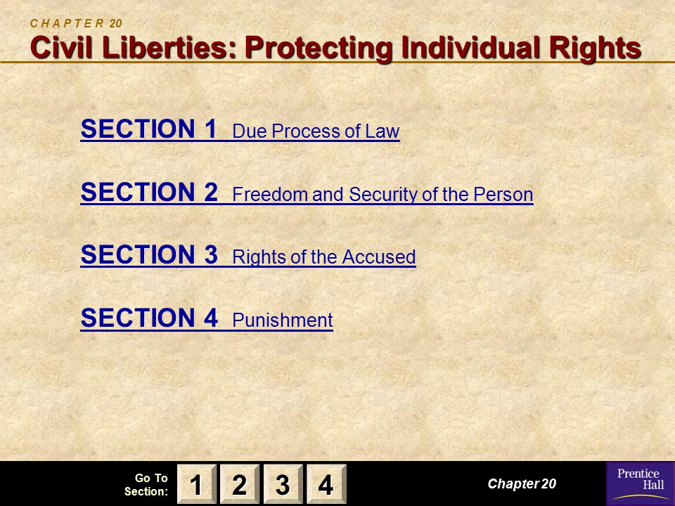 123 Go To Section: 4 Civil Liberties: Protecting Individual Rights C H A P T E R 20 Civil Liberties: Protecting Individual Rights SECTION 1 Due Process of Law SECTION 2 Freedom and Security of the Person SECTION 3 Rights of the Accused SECTION 4 Punishment Chapter 20 2222 3333 4444 1111