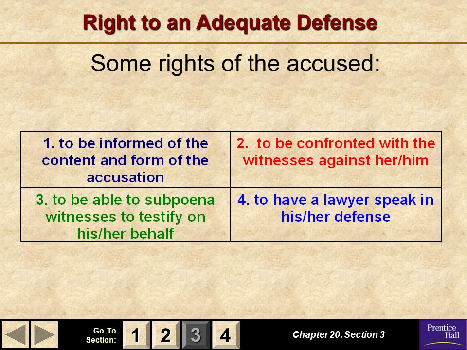 123 Go To Section: 4 Right to an Adequate Defense Some rights of the accused: Chapter 20, Section 3 2222 4444 1111