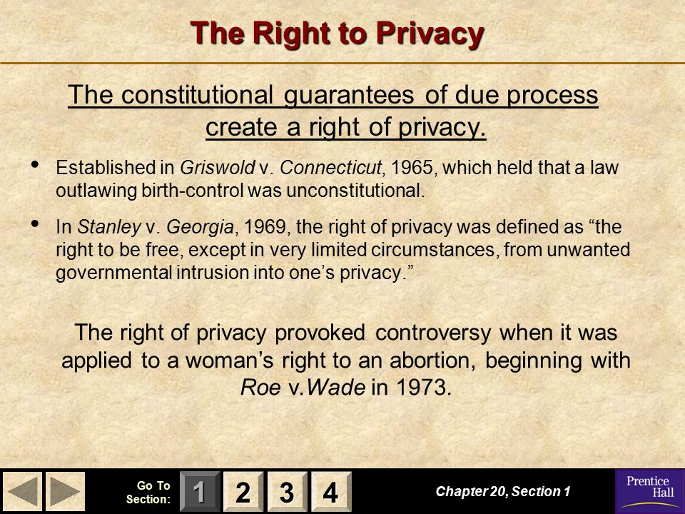 123 Go To Section: 4 The Right to Privacy The constitutional guarantees of due process create a right of privacy.