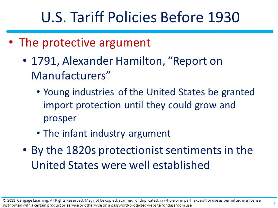 """U.S. Tariff Policies Before 1930 The protective argument 1791, Alexander Hamilton, """"Report on Manufacturers"""" Young industries of the United States be"""