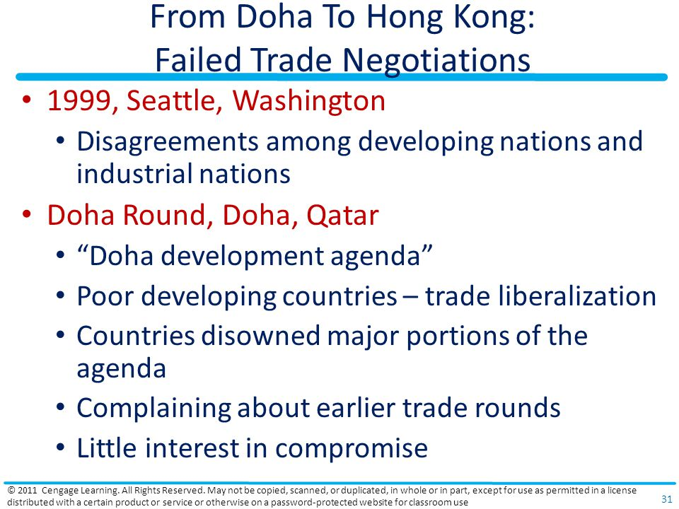 From Doha To Hong Kong: Failed Trade Negotiations 1999, Seattle, Washington Disagreements among developing nations and industrial nations Doha Round, Doha, Qatar Doha development agenda Poor developing countries – trade liberalization Countries disowned major portions of the agenda Complaining about earlier trade rounds Little interest in compromise © 2011 Cengage Learning.