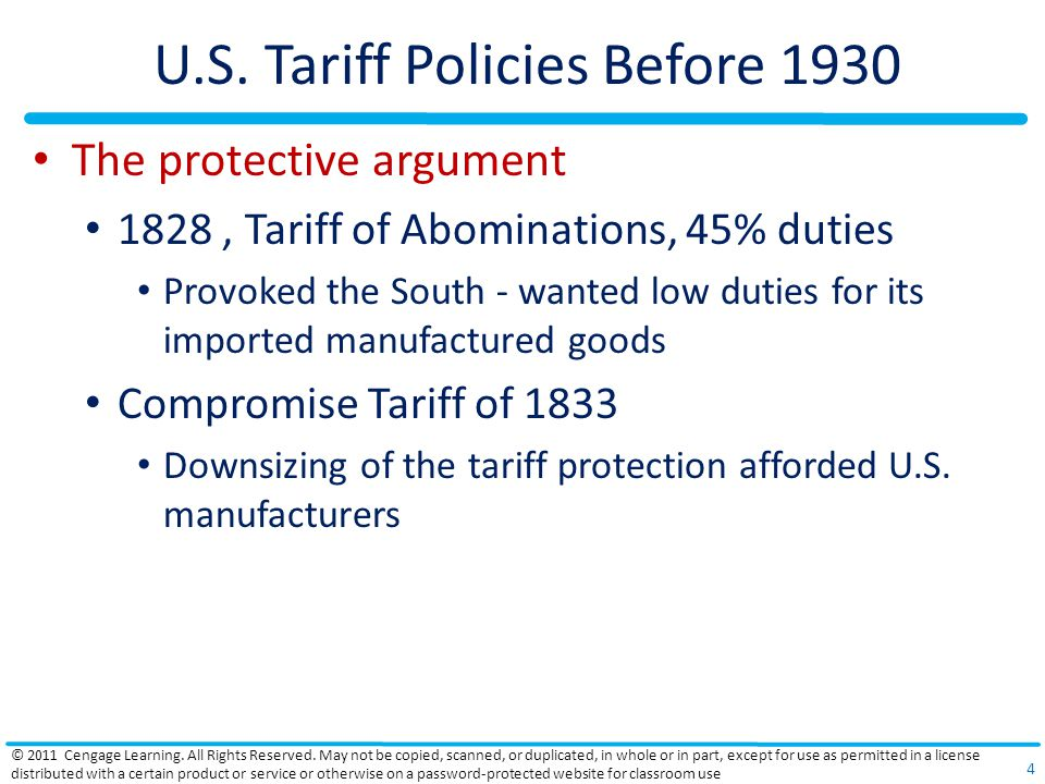 U.S. Tariff Policies Before 1930 The protective argument 1828, Tariff of Abominations, 45% duties Provoked the South - wanted low duties for its impor