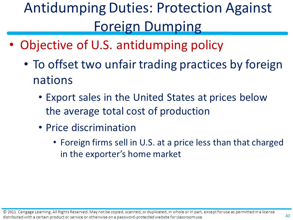 Antidumping Duties: Protection Against Foreign Dumping Objective of U.S.