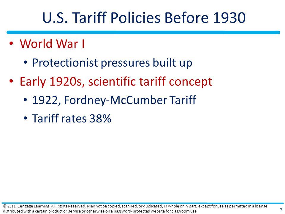 U.S. Tariff Policies Before 1930 World War I Protectionist pressures built up Early 1920s, scientific tariff concept 1922, Fordney-McCumber Tariff Tar