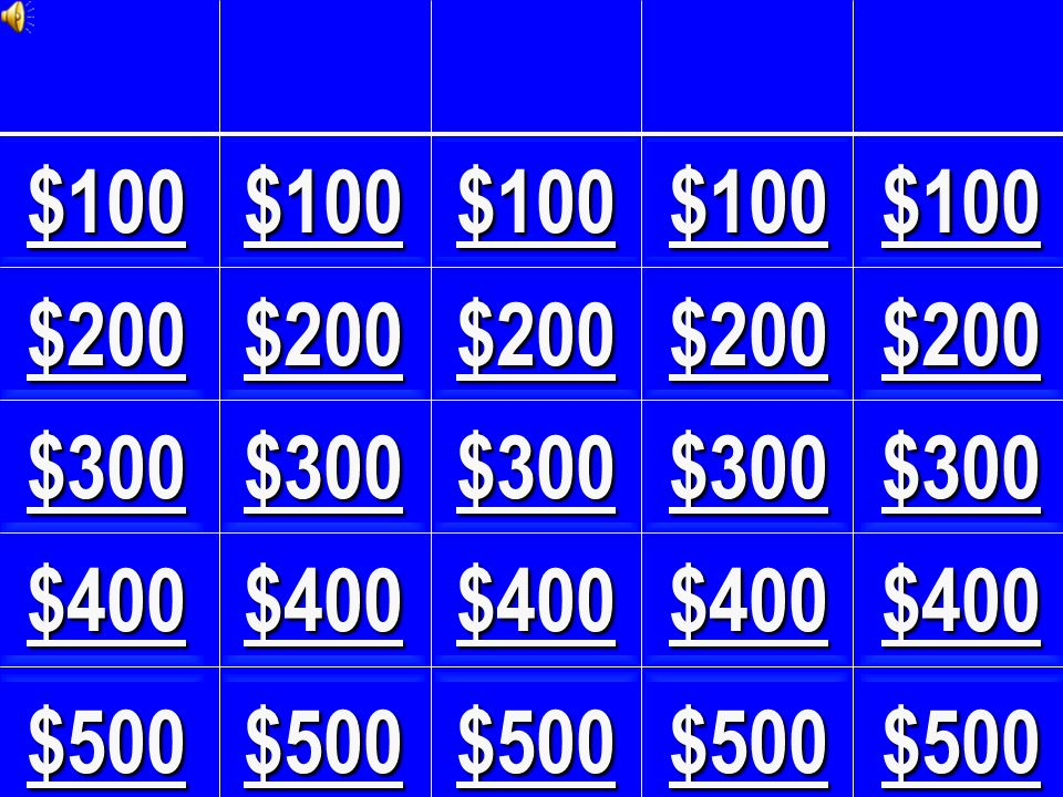 Jeopardy! Powerpoint Template Designed and Created by Jeffrey White jcteacher@yahoo.com Copyright © 2000 Version 1.0 - Last updated 9 June, 2000 The graphics and sounds used in this template are recorded from the Jeopardy! television show, were obtained from the Jeopardy! website, and are the property of Sony Pictures Entertainment. Jeopardy! website Visit http://www.geocities.com/jcteacher for updated versions!http://www.geocities.com/jcteacher