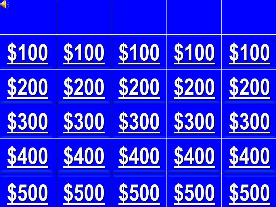 $100 $400 $300 $200 $400 $200 $100$100 $400 $200$200 $500$500 $300 $200 $500 $100 $300 $100 $300 $500 $300 $400$400 $500